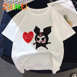 Wholesale cute anime shirts online – design Women y2k Anime Kuromi Pixel Print T shirt Tops Summer Fashion Cute Anime Ullzang Short Sleeved T shirt Girl Drop Ship