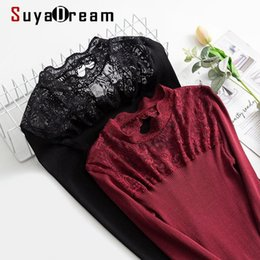 Wholesale silk cotton sweaters for sale - Group buy SuyaDream Woman Lace Sweaters Silk Cotton Mock Neck Wine Pullovers Fall Winter Bottoming Shirts