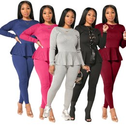 Wholesale skirt tracksuits resale online – Women Two Pieces Outfits Designer Tracksuit Solid Colour New Ruffle Lace Up Top Front And Back Casual Sports Suit Sportwear