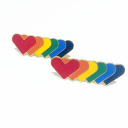 ingrosso pittura a strisce-Badge Long Strip Badge Love Heart Rainbow Brooches Butterfly Button Cooking Paint Vernice Badges Badges Nuovo arrivo BTA L1