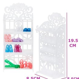 shoes for baby dolls NZ - 1 Set White Shoes Rack Plastic Shoe Cabinet Shelf Furniture Diy Accessories For Barbie Doll Playhouse Baby Girl Kids bbyPLu
