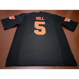 oklahoma state jersey NZ - 3740 Oklahoma State Cowboy #5 Black orange Justice Hill Alumni College Jersey SIZE S-4XL or custom any name or number jersey