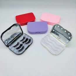 LED 3 pairs 3D Mink Eyelash plastic Package Boxes False Eyelashes Packaging Empty Case Lashes Box with holder mirror Makeup Tool on Sale