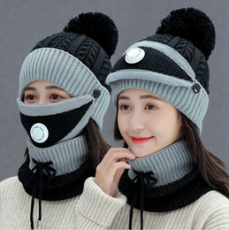 Women Winter Cap With Mask Neck Cover Knitting Warm Wool Beanies Skullies Hat Set Collar Knitted Caps Outdoor Cycling Hats LJJP783 on Sale