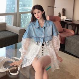 Wholesale long sleeve coat jeans lace resale online – New Summer Long Sleeve Large Size Jeans Jackets Women s Coat Loose Lace Stitching Perspective top Jacket Ladies denim coat