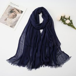 Wholesale black fringe scarf resale online - Big Size Plain Fringe Viscose Shawl Scarf Solid Color Muffler Wrap Headband Muslim Hijab Snood Echarpe Foulards Femme Cm