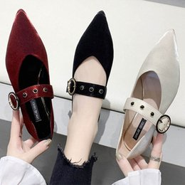 Rivets Metal Bound Buckle Band Pointed Toe Flock Ballet Flats Woman Loafers Shallow Low Heel Moccasins Shoes Women Ballerina2020 U0Mx#