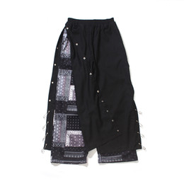 Wholesale slit wide pants resale online – High Street Flower Breasted Button Pants Men Loose Wide Leg Straight Side Pin Slit Casual Baggy Trousers