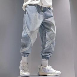 Wholesale man cargo jean pant for sale – denim 2020 Streetwear Pants Men Jeans Cargo Pants Male Korean Fashion Hip Hop Ankle Banded Man Casual Loose Joggers Blue