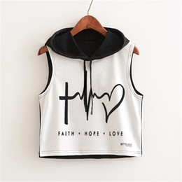 hoodie t shirt ladies 2021 - New Punk Rock Summer T Shirt Women Black Sleeveless Cotton Hoodie Letter Print Loose Crop Tops Ladies Tees Plus Size Y200422