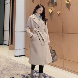 Wholesale drop waist coat resale online - Women s Fashion Casual Double Breasted Belt Adjustable Waist X Long Coat Turn down Collar Drop Shoulder Elegant Woolen Coat