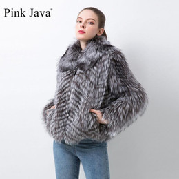 Wholesale leather fur trim coats resale online - pink java QC20021 new arrival women real fur coat natural silver fur jacket real leather luxury coat