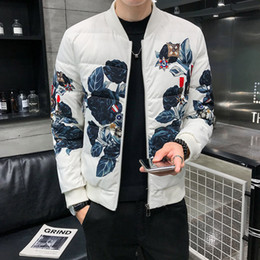Wholesale white cotton flower printed jackets for sale – custom High Quality Print Bomber Jacket Men Flower Down Jacket Party Mens Jackets Plus Size xl