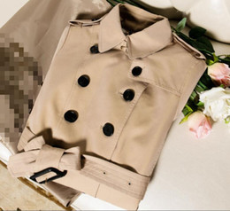 Wholesale women cotton trench coats fashion resale online - CLASSIC women fashion England double breasted trench coat top quality brand design slim fit trench coat cotton trench for women B1070F500