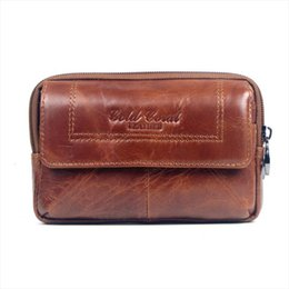 vintage leather fanny pack Canada - New Men Leather Cowhide Vintage Travel Cell Mobile Phone Case Cover Belt Pouch Purse Fanny Pack Waist Bag