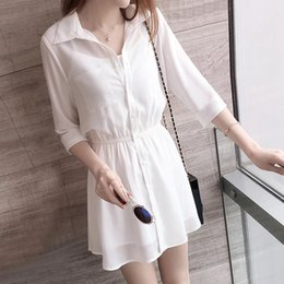 Wholesale dress korean chiffon fashion woman online – Dress summer shirt hipster women s Summer Korean style new fashion shirt chiffon suit slimming waist skirt GWywl
