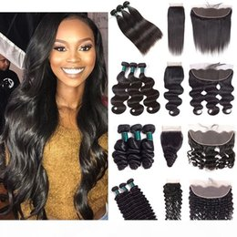 straight wavy hair weave NZ - Cuticle Aligned Hair Bundles With Frontal Closure Straight Wavy Curly Remy Human Hair Weave 3 Bundles With 4*4 Closure or 13*4 Lace Frontal