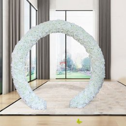 white silk wedding backdrop 2021 - 10pcs lot Wedding Decorative White Artificial Rose Silk Flowers Runner 3D Flower Wall Backdrop Stage Decoration 40x60cm