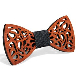 Vintage Red Rosewood Bow Ties Manual Hollow Out Bowknot For Gentleman Wedding Wooden Bowtie Fasion Accessories 9 Styles DDF4310 on Sale