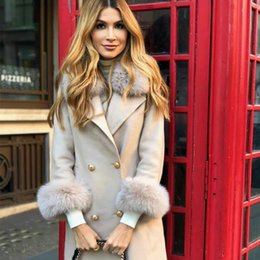 Wholesale women fox trench coat for sale - Group buy Women multicolor Genuine Fur Winter Wool Trench Coat Fashion Thick Real Fox Long Jacket Overcoat Female Warm Coats