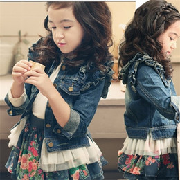 Wholesale long sleeve coat jeans lace for sale – winter Girls Outerwear Baby Clothes Fall Winter Fashion Lace Hem Toddler Kids Denim Jacket Long Sleeve Ruffle Girl Jean Coat C1012