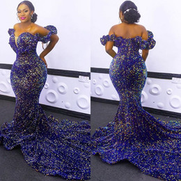Wholesale robe plus resale online - African Sequined Evening Dresses Plus Size Off Shoulder Mermaid Prom Gowns Red Carpet Robe De Soiree