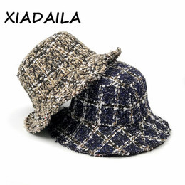 Wholesale girl sexy hat for sale - Group buy Women Girls Warm Hat Cap Women Wide Brim Bucket Hat Female Plaid Winter Casual Cute Sexy Cap