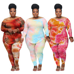 Wholesale puffed vest online – women Two Piece Outfits Set Casual Tracksuit Women Clothes Tie dye long Sleeve T Shirt and pants Suits Plus Size Clothing