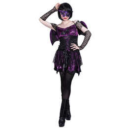 role playing outfit UK - Woman Dark Bat Witch Dress Adult Girls Halloween Cosplay Costume Pretend Game Party Role Play Outfit Stage Show Dress Up Clothes