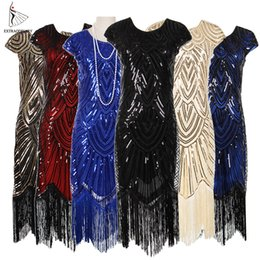 Wholesale flapper dresses for sale - Group buy Womens s Vintage Flapper Great Gatsby Party Dress V Neck Sleeve Sequin Fringe Midi Dresses Summer Art Deco Embellished
