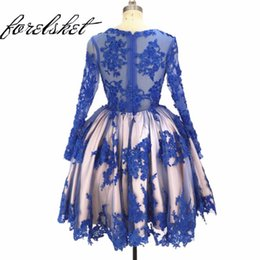 polyester prom dress 2020 - Beaded Lace Appliques Ball Gown Short Prom Dresses Blue 2020 Celebration Long Sleeve Formal Party Gowns For Women robe d