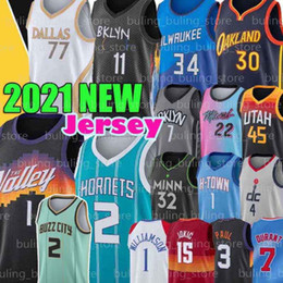leonard großhandel-Edwards Karl Anthony Anthony Towns Jersey Curry Mitchell Kawhi Morant Booker Paul Leonard Damian Doncic John Lillard Wall Durant Harden Ball