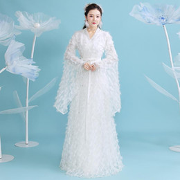 Wholesale han dynasty resale online - 2020 Ancient Han Dynasty Princess Clothing Hanfu Dress Female Original Chinese Style Summer Feather Hanfu Fairy Dresss SL4155