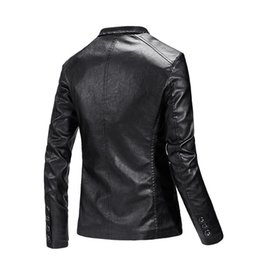 Wholesale mens leather motorcycle style jackets resale online - 2020 New Mens Motorcycle Jacket Leather Jacket Men Faux Leather Men Leisure Suits Leather Jacket Business Solid Punk Style