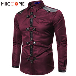 Wholesale rivets for clothes for sale - Group buy Long Shirt Men New Goth Style Rivet Solid Color Cargo Shirt Slim Fit Chemise Noel Party Singer Stage Streetwear For Men Clothing