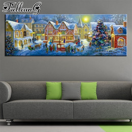 painted christmas canvas UK - FULLCANG diy 5d full diamond embroidery christmas town large mosaic canvas painting sale night landscape wall decoration FC2118 201127
