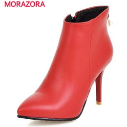 boots for large ankles Canada - MORAZORA Pointed toe boots thin high heels zipper large size 34-45 boots for women solid wedding party ankle boots autumn 1026