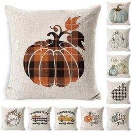 Halloween Pumpkin Sofa Throw Pillowcase Printed Cover Plaid Pillow Case Christmas elk Pillowslip T9I00558