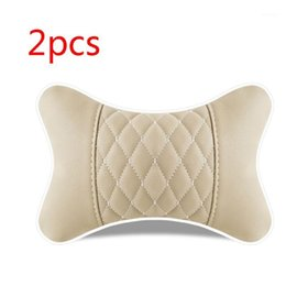 2pcs Artificial Leather Car Pillow Protection Neck Car Headrest Comfortable G99F1 on Sale