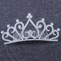 Wholesale diamond heart Crown Headband Headdress Crystal bride Tiara Comb Wedding Birthday Pageant Party fashion jewelry will and sandy