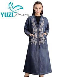 Wholesale women denim trench coat resale online - Trench Coat Yuzi may Boho New Denim Women Coats V Neck Long Sleeve Single Breasted Vintage Embroidery Casaco Feminino B9288
