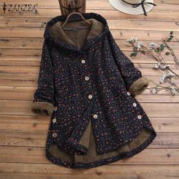 Wholesale fluffy hoodies women for sale – custom ZANZEA Women Fleece Coats Winter Hoodies Long Sleeve Jackets Female Vintage Buttons Outwear Hooded Plush Fluffy Printed Coat