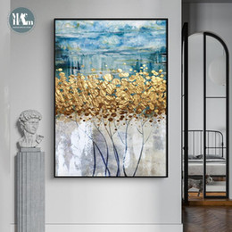 Wholesale Modern Wall Art Canvas Painting Golden fortune tree Abstract Golden Art Poster Print Wall Picture for Living Room Porch Decor
