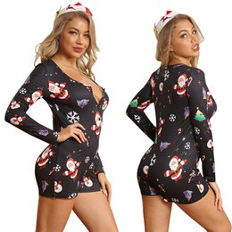 Discount designer women jumpsuits rompers Lovely Womens Christmas Jumpsuits Fashion Casual Women Onesies Pajamas Lady Christmas Tight Rompers Home Clothing Wholes