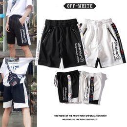 Wholesale off white men pants for sale – dress Off fashion white arrow string shorts men and women couples pure cotton trend hip hop sports pants beach pantsEJ80IHMI