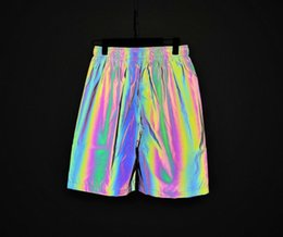 rainbow night lights UK - Men spring summer rainbow color reflective shorts elastic waist joggers mens colorful night reflect light short pants bermuda
