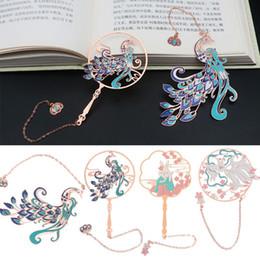 Vente en gros Chinese Style Brass Peacock Signet Group Fan Livre clip Pagination Mark métal Tassel Papeterie bureau fournitures scolaires