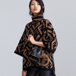 Wholesale women short sweaters cape resale online - Early autumn winter fashion women with short sleeves cape letter sweater turtleneck loose sweater