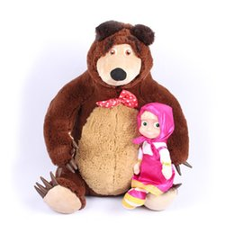 Discount masha doll toy Russian Musical Masha Doll* Bear Plush Stuffed Toys and the Brand Educational For Boys Girls Birthday Christmas New Year