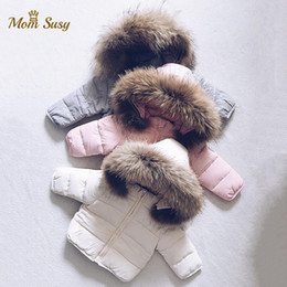 Wholesale winte jacket resale online - Baby Boy Girl Winte Down Jacket Thick Cotton Padded Infant Toddler Fur Hooded Coat Solid Snow Suit Zipper Baby Clothes Y